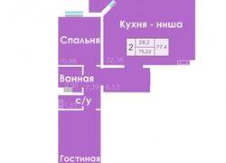 План 2-х комнт. квартиры на ул. Пролетарская 288/1